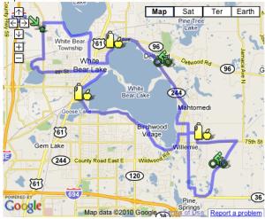 Route map of Tour de White Bear Lake 2010