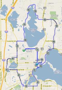 Four lakes plus route map