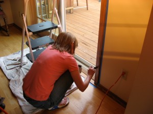 Staining the patio door