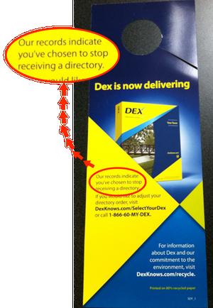 DEX Opt Out door hangtag