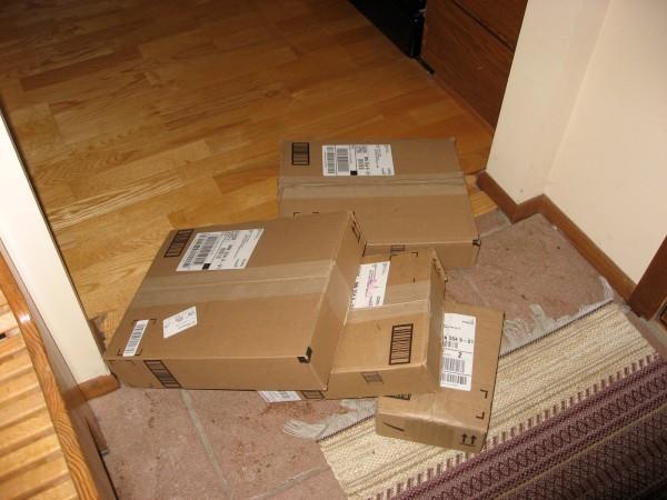 Amazon packages just inside the door