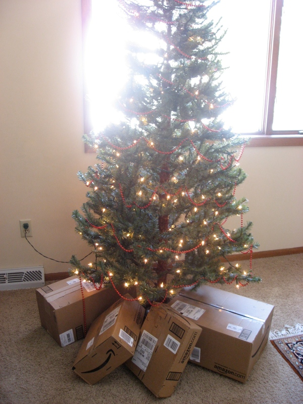 Amazon packages under the tree