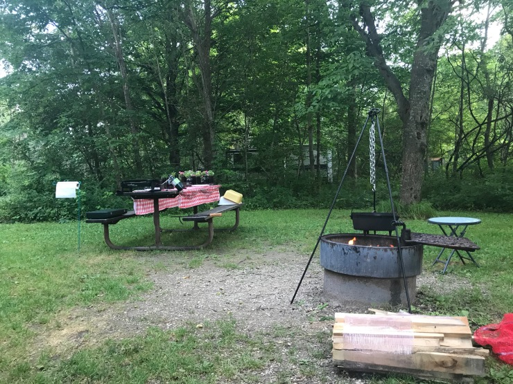Forestville campsite with dutch oven