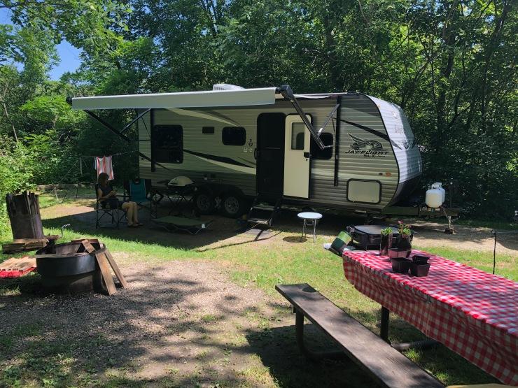 Forestville trailer in campsite