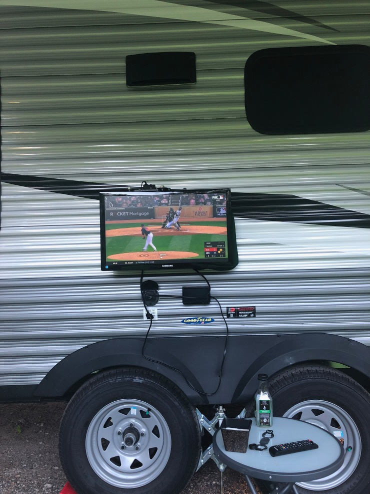 Rice Creek TV outside with Twins game