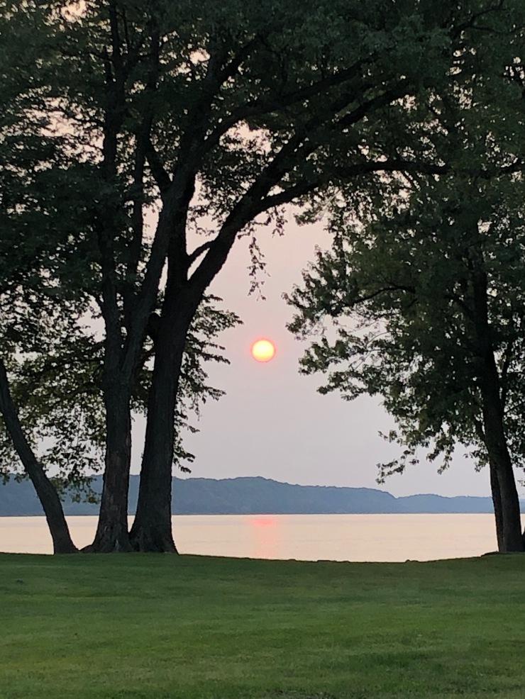 Mississippi RIver - Grant River sunset through trees over river