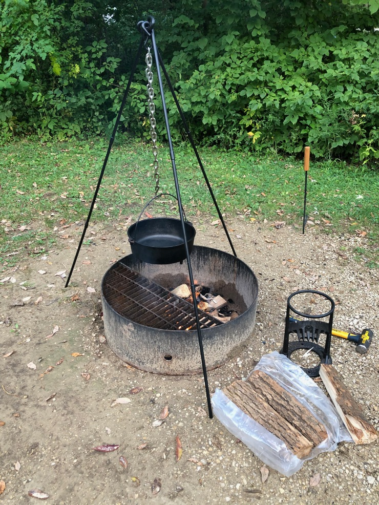 Mississippi River - Wyalusing cooking tripod setup