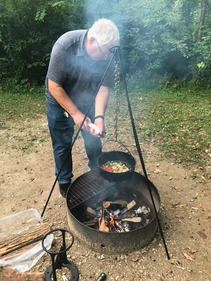 Mississippi River - Wyalusing jambalaya cooking